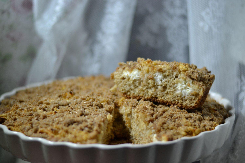 Jablkový koláč s tvarohom a škoricou so špaldovou a pohánkovou múkou ideálny na sychravé dni. FOTO: www.preventivne.sk